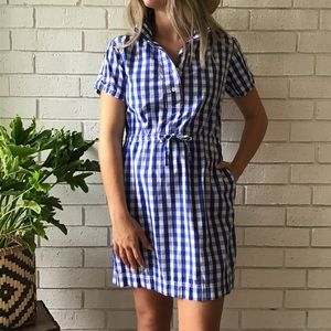 J. Crew Factory | Blue White Checkered Print Dress
